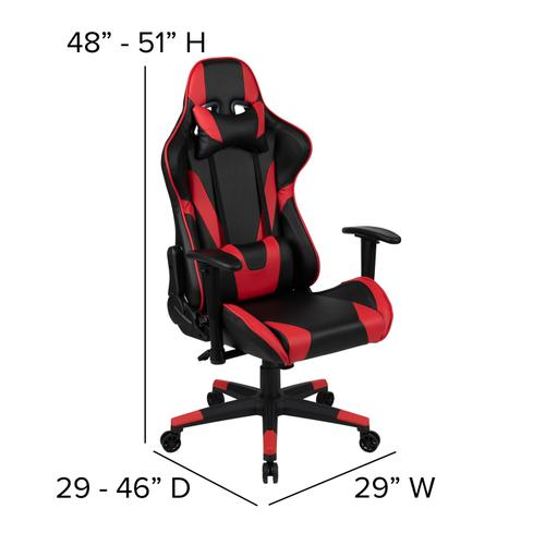 Gallery - Gaming Desk and Red\/Black Reclining Gaming Chair Set \/Cup Holder\/Headphone Hook\/Removable Mouse Pad Top - Wire Management