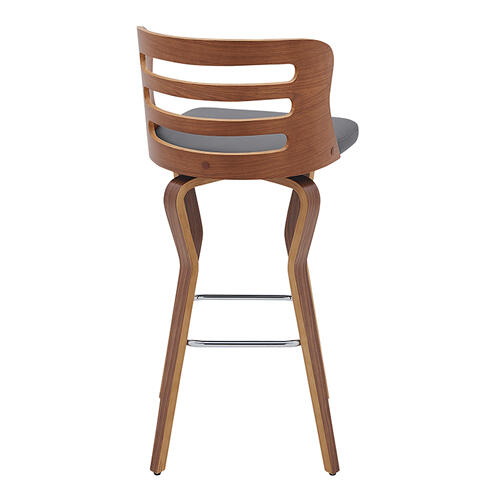 "Verne 30"" Swivel Gray Faux Leather and Walnut Wood Bar Stool"