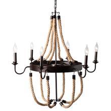 See Details - Baxton Studio Cassia Vintage Industrial Antique Style Hemp and Dark Bronze Metal 6 Light Chandelier