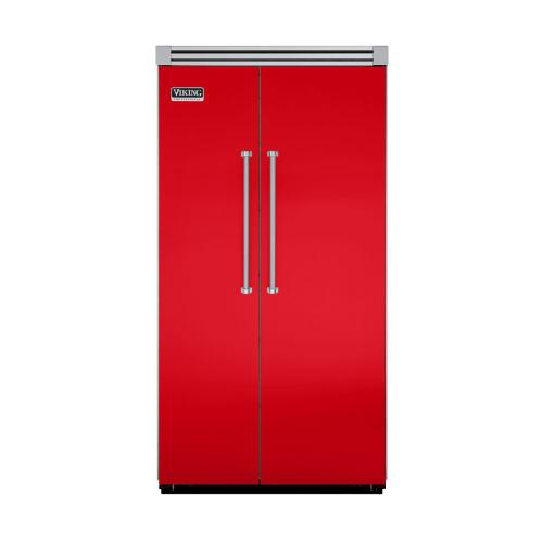 """Viking - Racing Red 42"""" Side-by-Side Refrigerator/Freezer - VISB (Integrated Installation)"""