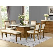 Palmer 8 Piece Marble Top Set(Table, Bench &6 Side Chairs)