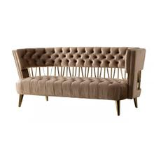 Divani Casa Courtney - Beige & Gold Fabric Loveseat