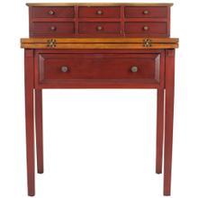 Abigail Fold Down Desk - Egyptian Red / Oak
