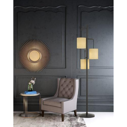 60W X 3 Kirkwall Metallantern Floor Lamp With Fabric Shade