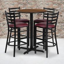 Product Image - 30'' Round Walnut Laminate Table Set with X-Base and 4 Ladder Back Metal Barstools - Burgundy Vinyl Seat