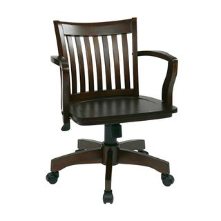See Details - Deluxe Wood Banker's Chair With Wood Seat In Espresso Wood Finish