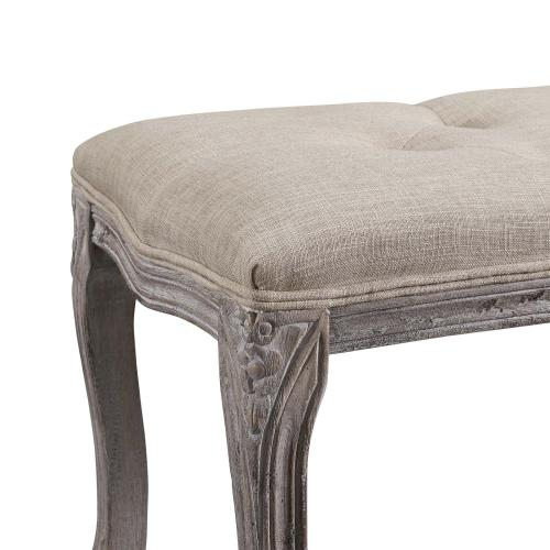 Regal Vintage French Upholstered Fabric Bench in Beige
