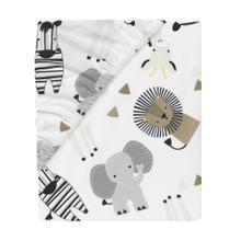 Jungle Safari Cotton White/Gray Elephant/Lion Fitted Mini Crib Sheet