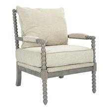 See Details - Abbott Spindle Chair In Linen Fabric With Brushed Grey Finish