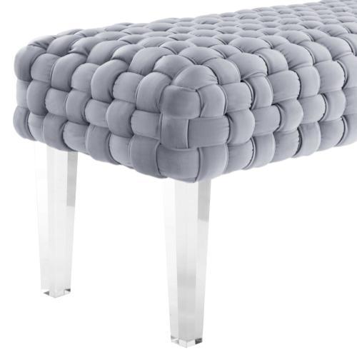 Tov Furniture - Sal Woven Grey Velvet Bench
