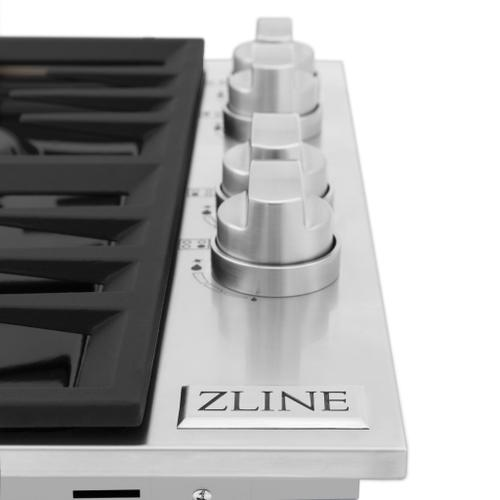 """ZLINE 30"""" Dropin Cooktop with 4 Gas Burners and Black Porcelain Top (RC30-PBT) [Color: Stainless Steel]"""
