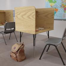 See Details - Stand-Alone Study Carrel with Top Shelf - Height Adjustable Legs and Wire Management Grommet - Oak Finish