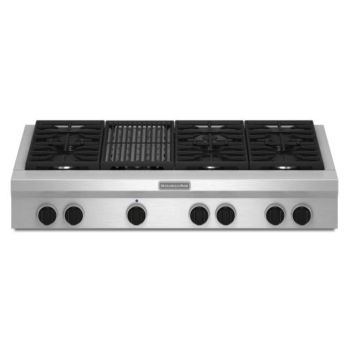 Gallery - 48-Inch 6 Burner with Grill, Gas Rangetop, Commercial-Style - Stainless Steel