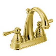 Kingsley Polished brass two-handle high arc bathroom faucet