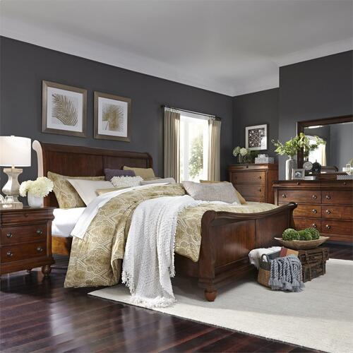 King California Sleigh Bed, Dresser & Mirror, Chest, Night Stand