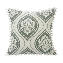 Belmont Graphic Print Throw Pillow W/ Pom Trim, 18x18