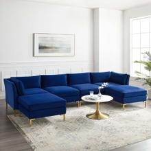 Ardent 6-Piece Performance Velvet Sectional Sofa in Navy