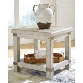Carynhurst Rectangular End Table White Wash Gray