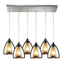 See Details - Reflections 6-Light Rectangular Pendant Fixture in Satin Nickel with Chrome-plated Glass