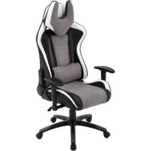 View Product - Hanover Commando Ergonomic Gaming Chair in Black, Grey, and White with Adjustable Gas Lift Seating and Lumbar Support, HGC0107