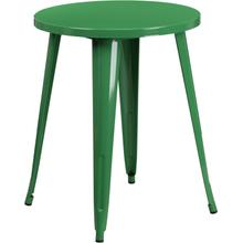 "Commercial Grade 24"" Round Green Metal Indoor-Outdoor Table"
