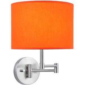 Swing Arm Wall Lamp, Ps/orange Fabric Shade, E27 Cfl 13w