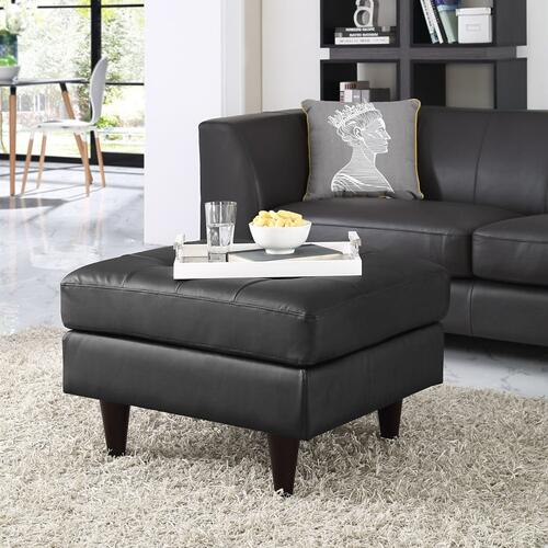 Empress Bonded Leather Ottoman in Black