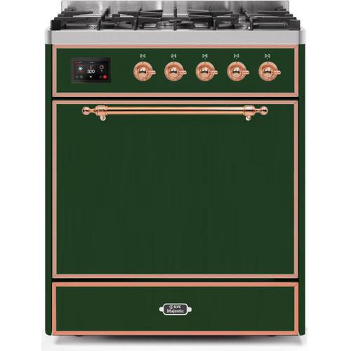 Ilve - Majestic II 30 Inch Dual Fuel Natural Gas Freestanding Range in Emerald Green with Copper Trim