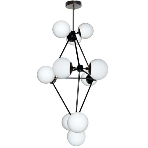12lt Chandelier, Black Finish W/white Glass Balls