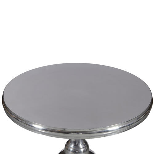 Round Polished Aluminum Silver Pedestal Tripod Base Table