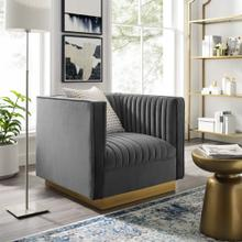 Sanguine Vertical Channel Tufted Accent Performance Velvet Armchair in Gray