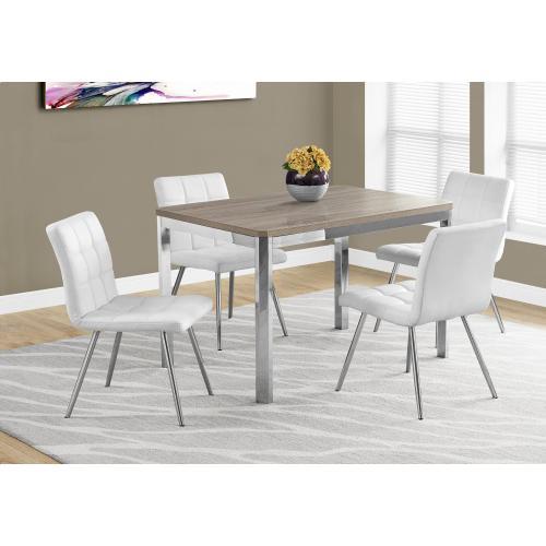 "DINING TABLE - 32""X 48"" / DARK TAUPE / CHROME METAL"