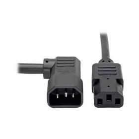 Heavy Duty PDU Power Cord, C13 to Right Angle C14 - 15A, 250V, 14 AWG, 6 ft., Black