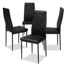 View Product - Baxton Studio Blaise Modern and Contemporary Black Faux Leather Upholstered Dining Chair (Set of 4)