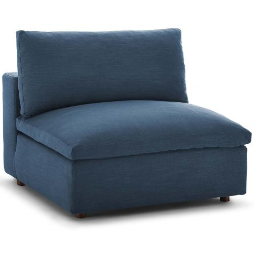 Commix Down Filled Overstuffed Armless Chair in Azure