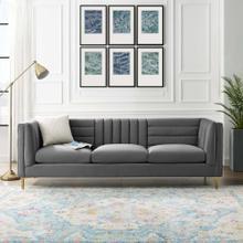 Ingenuity Channel Tufted Performance Velvet Sofa in Gray