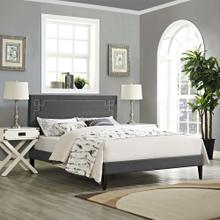 Ruthie King Fabric Platform Bed with Squared Tapered Legs in Gray