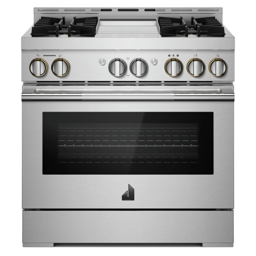 """36"""" RISE™ Gas Professional-Style Range with Chrome-Infused Griddle"""
