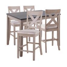 Harper Counter Set - Grey Wood, Espresso Wood, Grey Fabric