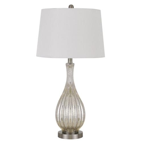 100W Goch Crackle Glass Table Lamp With Taper Drum Hardback Linen Shade (Priced And Sold As Pairs)