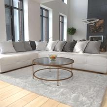 View Product - Astoria Collection Glass Coffee Table with Matte Gold Frame