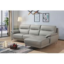 Divani Casa Fortson Modern Grey Eco-Leather Sectional Sofa w/ Right Facing Chaise