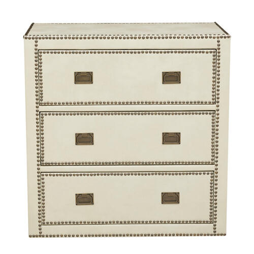 Chester Ivory Faux Leather Wrapped Trunk Style Drawer Chest