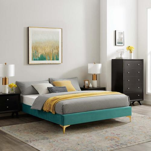 Sutton Full Performance Velvet Bed Frame in Teal