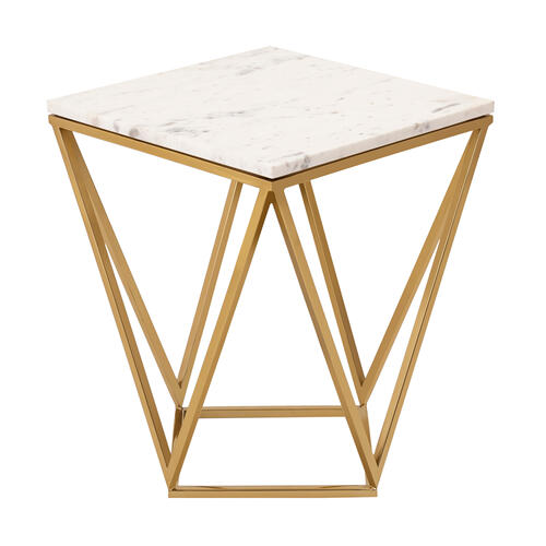 Leopold White Marble Side Table