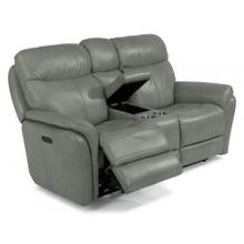 HARKNESS EXCLUSIVE! Leather Power Reclining Console Loveseat with Power Headrest