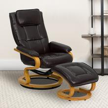 See Details - Contemporary Adjustable Recliner and Ottoman with Swivel Maple Wood Base in Brown LeatherSoft