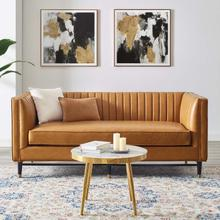 See Details - Devote Channel Tufted Vegan Leather Loveseat in Tan