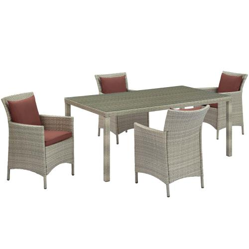 Conduit 5 Piece Outdoor Patio Wicker Rattan Dining Set in Light Gray Currant