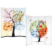 See Details - 4-Panel Double Sided Painted Canvas Room Divider Screen, Life Tree